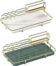 Bathroom Organizer, 1 Tier Badkamer Cosmetische Opbergplank Voor En Aanrecht, Decoratieve Draadorganisator Met Marmering D...