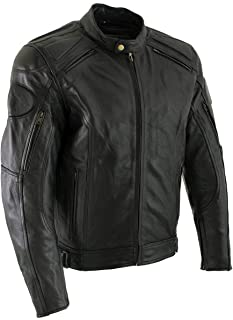 Xelement B7366 `Executioner` Men`s Black Leather Racer Jacket with X-Armor Protection - 3X-Large