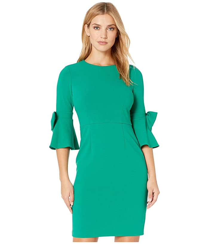 Donna Morgan  3/4 Bell Sleeve Crepe Shift Dress with Bow Detail at Wrist (Evergreen) Womens Dress