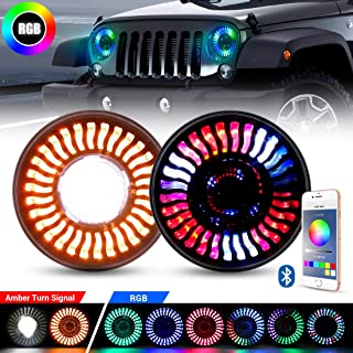 Jeep LED RGB Headlight with Amber Turn Signal, SUPAREE 7 Inch Round Halo LED Headlight Fits 1997~2018 Jeep Wrangler JK TJ LJ with Bluetooth Remote Control 120W 12000LM High Low beam-2PCS