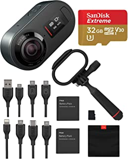 Rylo 5.8K 360 Degree Video Action Camera Black, (iPhone + Android) Bundle Kit with 32GB Micro SD Card + Everyday Case + Extra Rylo Lithium-Ion Battery + 16GB SD Card