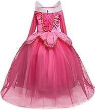 HNXDYY Girls Princess Aurora Dress Costume Carnival Party Elegant Dress Size 4-9 Years