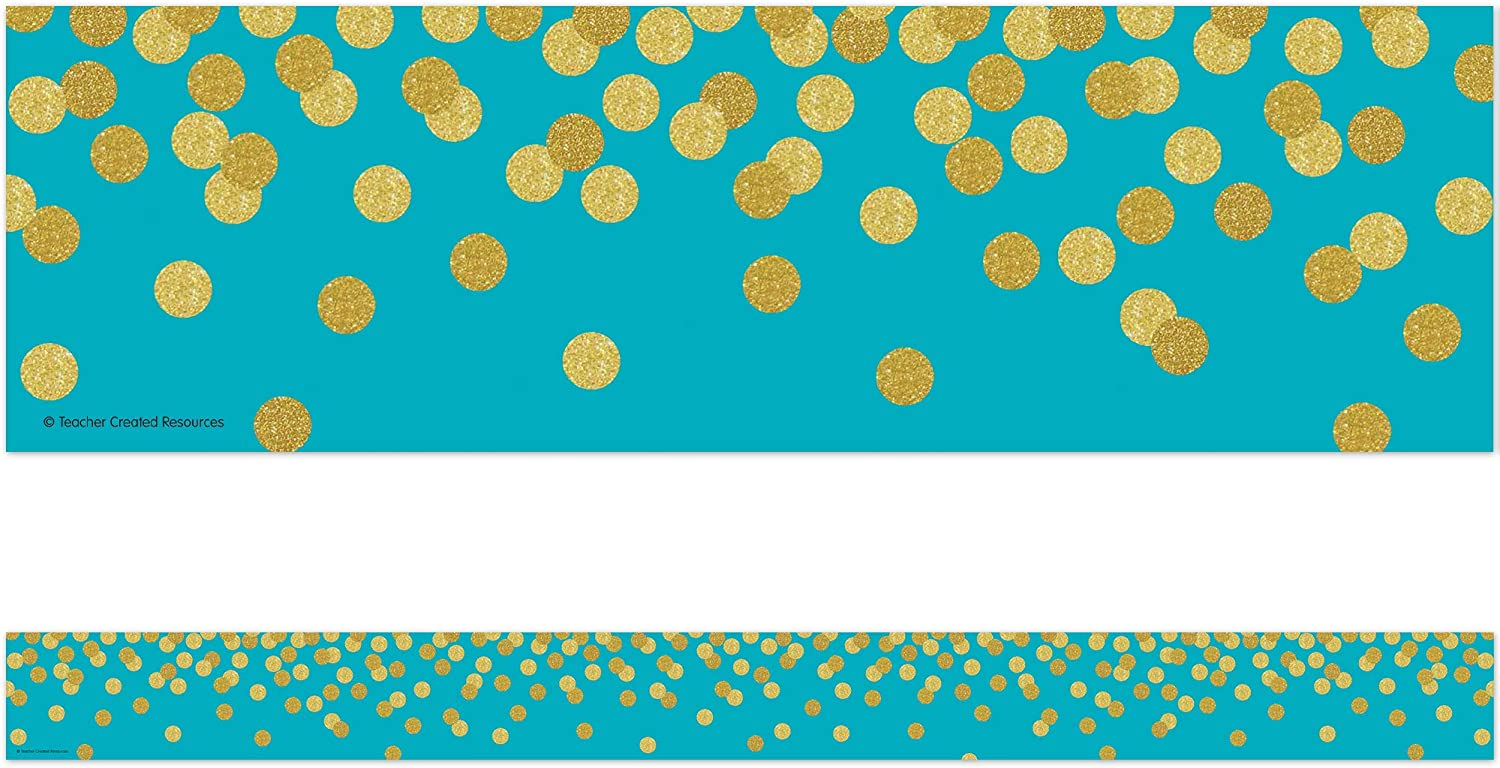 Teacher Created Resources Teal Confetti Trim Manufacturer OFFicial shop Border TC Ranking TOP18 Straight