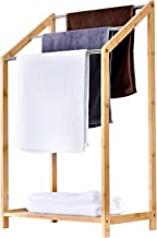 ToiletTree Products Bamboo Towel Rack Holder for Bathrooms (3 Tier) - Freestanding Beach Towel & Poolside Rack with Bottom...