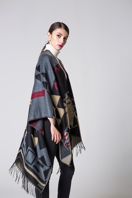 YianBestja Damen Herbst/Winter Poncho mit Quaste, 130 * 150CM Poncho-Schal Überwurf Cape Umhang Wendeponcho für Frau 36-2