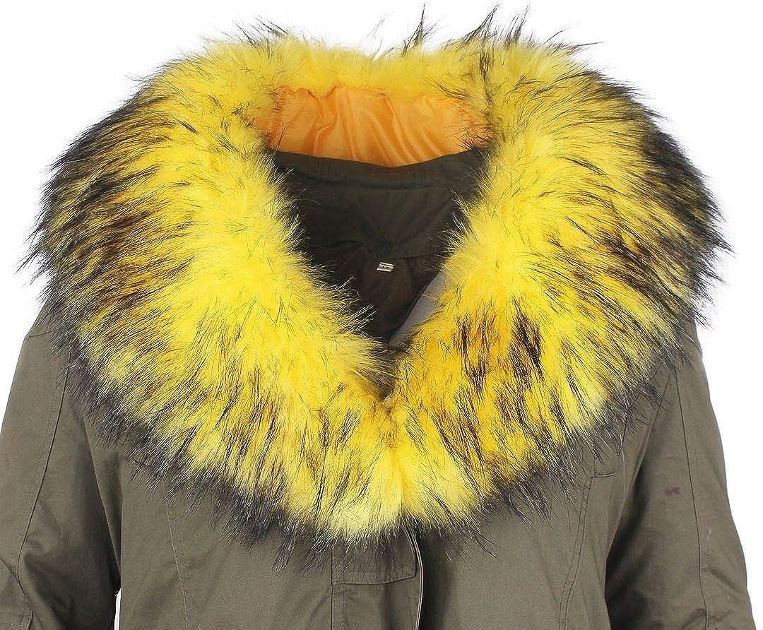 Deargles Cuello de piel sintética, cuello de piel sintética, cuello de piel sintética, bufanda de pelo de mapache, abrigo de invierno con capucha, borde de 90 x 18 cm