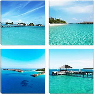 Spirit Up Art 4pcs/sets Modern Seascape Giclee Prints Artwork Landscape Blue Sea, Beach, Hut Pictures Photo Paintings Print on Canvas Wall Art for Home Walls Decor, Stretched and Framed, Ready to Hang