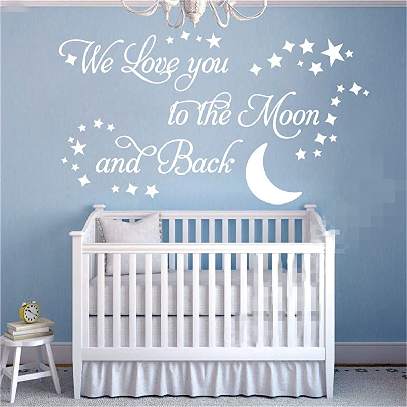 Wall Decal Sticker Art Mural Home Decor We Love You To The Moon And Back Stars And Moon For Nursery Kids Room