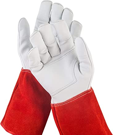 NoCry Long Leather Gardening Gloves — Puncture Resistant with Extra Long Forearm Protection and Reinforced Palms and Fingertips, Size Small