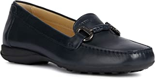 GEOX Women's Woman Euxo 4 Leather Loafer with Bit Embellishment, Navy, Driving Style, 39 M EU (9 US)