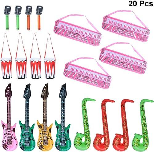 ofreciendo 100% NUOBESTY Niños Inflables Instrumentos Juguete Electrónico Electrónico Electrónico Piano Batería Saxofón Micrófono Guitarra Instrumentos Musicales Set 20 unids  popular