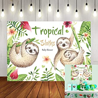GYA 7x5ft Tropical Sloth Family Birthday Invitation Theme Backdrop Sleepy Sloths Baby Shower Party Photography Background Dress up Cake Table Decoration Photo Booth Props