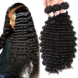 Deep Wave 3 Bundles (14 16 18inch) Unprocessed Brazilian Human Hair bundles 10A Grade Brazilian Deep Wave Virgin Remy Curly Hair Extensions Natural Color