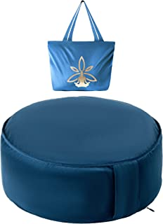 Nolavea Zafu Meditation Cushion and Yoga Cushion - Blue Floor Cushion for Meditation - Yoga Accessories - Meditation Cushi...