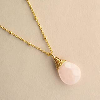 Rose Quartz Pendant Necklace Natural Gemstone 14k Gold Filled 18 inches Light Pink