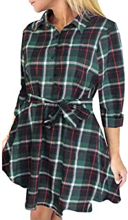 FANCYINN Women Long Sleeve Plaid Pattern Tunic Tops Shirt Casual Dress