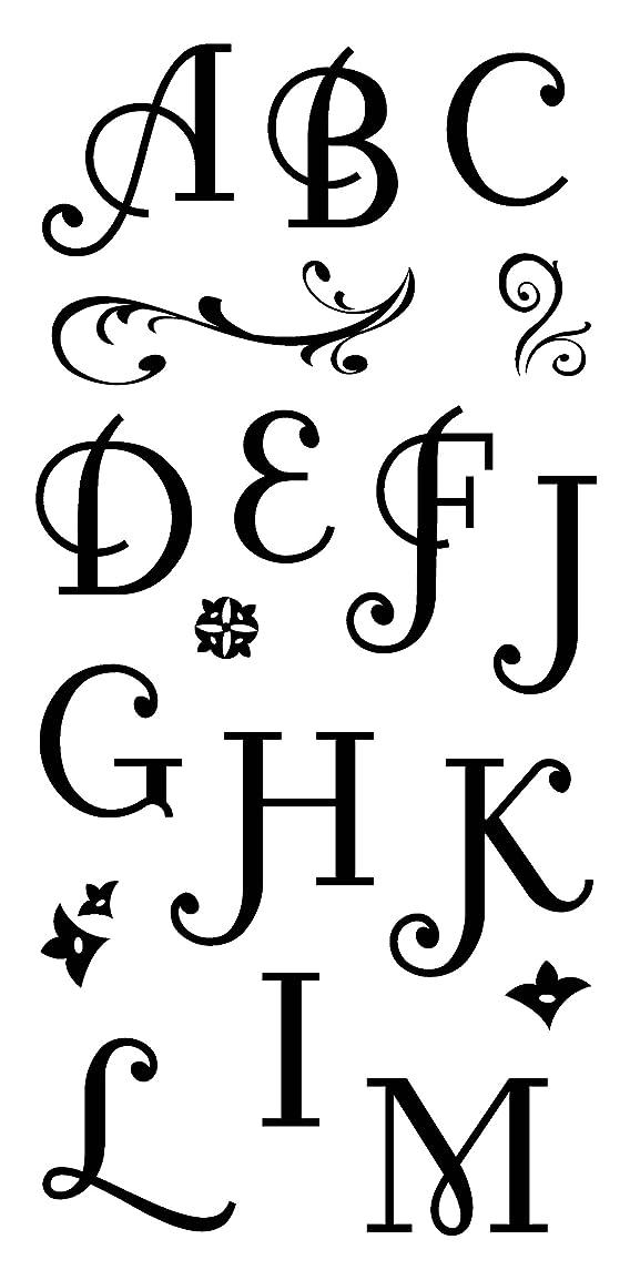 Inkadinkado Flourish Alphabet Clear Stamp Set for Arts and Crafts, 34pc