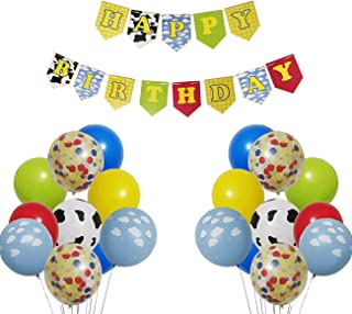 Toy Inspired Story Happy Birthday Banner Decorations Kit, Kids Birthday Party Garland Banner Toy Inspired Story Theme Ball...