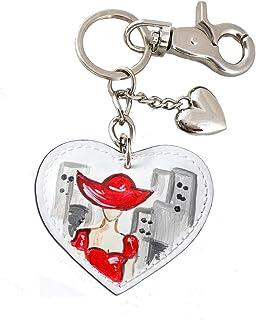 Portachiavi in pelle dipinto a mano – LADY IN RED - Portachiave donna con moschettone - Portachiavi cuore, Portachiavi da ...