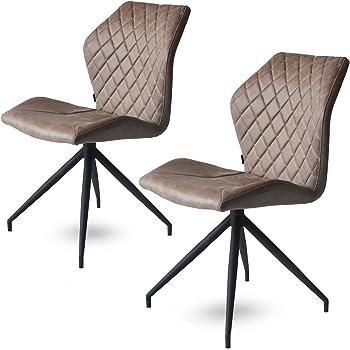 Rocky Esszimmerstühle 2er Set | Design Stuhl mit Stoffbezug | (Dessert)