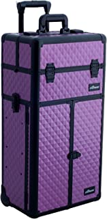 (Diamond, Purple) - SUNRISE Makeup Case on Wheels 2 in 1 Professional Organiser I3166, French Doors, 4 Slide Trays and 3 Drawers, Mirror with Shoulder Strap, Purple Diamond