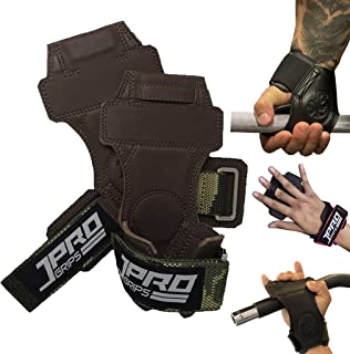 JPRO Heavy Duty Weight Lifting Grips/Hook for Men/Women with Wrist Straps and Patented Finger Loop Tech Pro+ Handcrafted f...