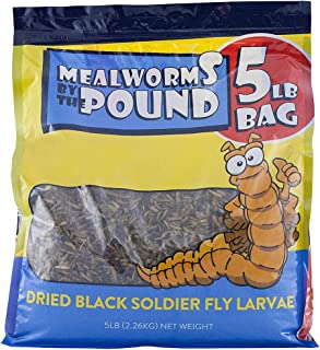 Mealworms by the Pound Bulk Dried Black Soldier Fly Larva - Treats for Chickens & Wild Birds (5 Lbs)