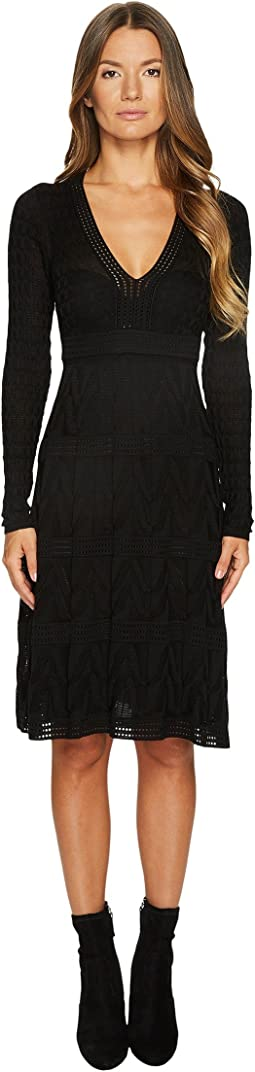 M Missoni - Solid Knit V-Neck Dress