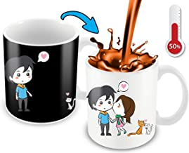Heat Changing Mug With Lovely Cartoon Couples And Cute Cats Color Changing Coffee Mug | Funny Cute Mug For Woman, Wife, Girlfriend, Mother And Cats Lovers | 11 Oz Ceramic Coffee Mug With Gift Box