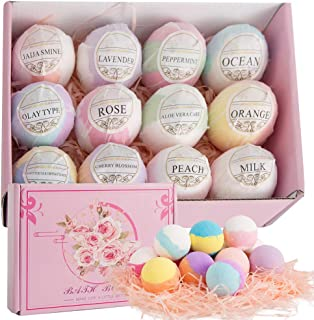 MACOODEE Bath Bombs Gift Set for Women & Kids, 12 Pcs Natural & Organic Bath Fizzies Spa Kit with Rich Bubbles, Colors for...