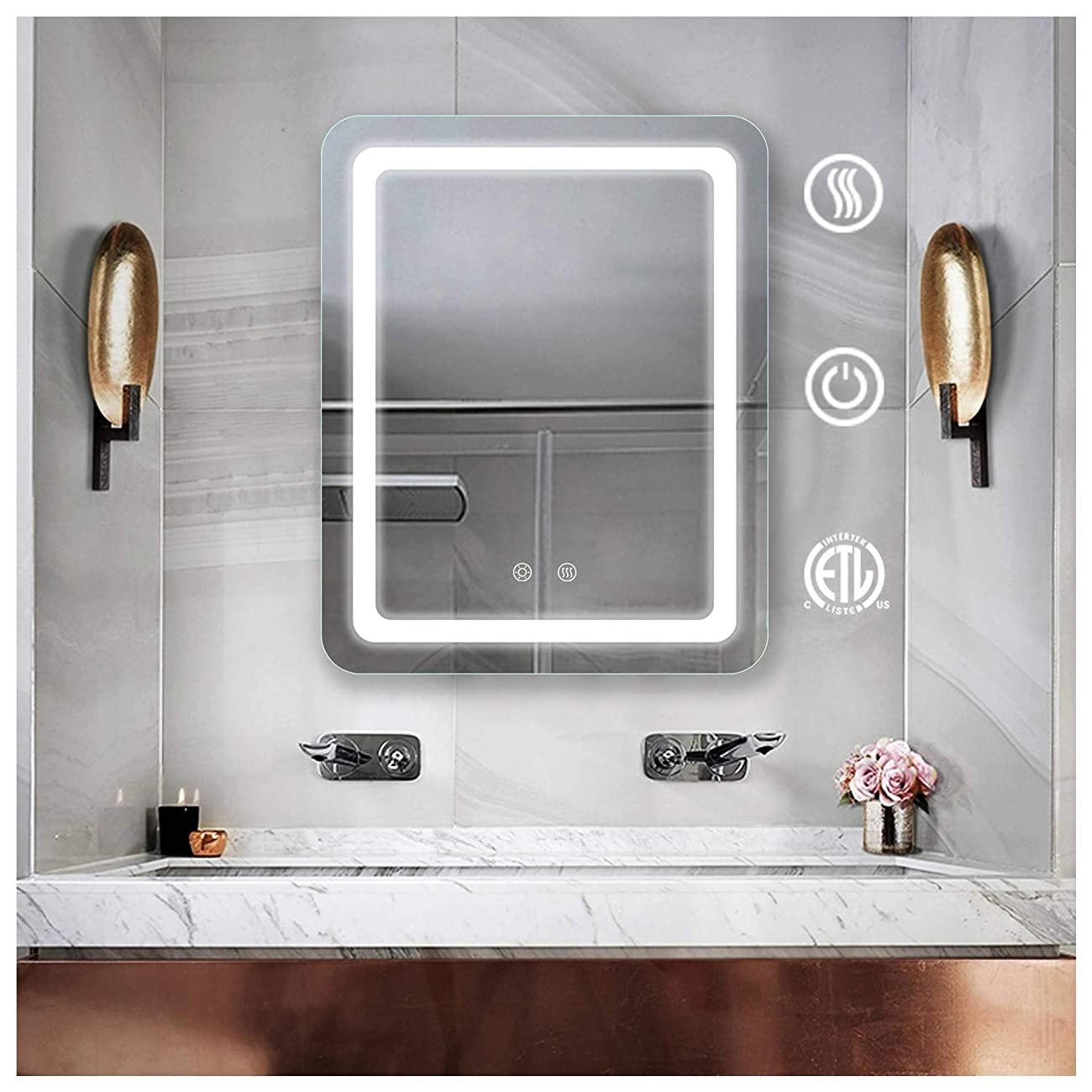 弱めるパブ偶然の28 x 36インチのつけられた浴室ミラーの壁に取り付けられた虚栄心の浴室のフレームレスバックライトを当てられた壁ミラーの反霧の接触長方形の構造ミラー
