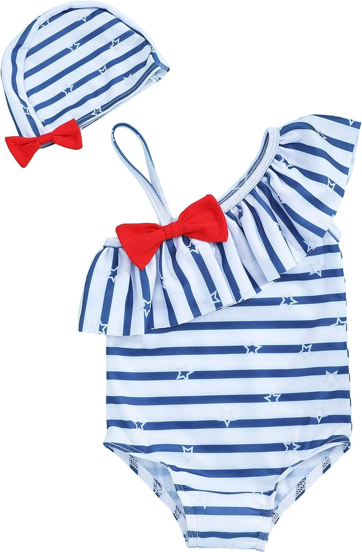 Oklady Toddler Baby Girl Swimsuit Bikini Beach Swimsuit Stripe Bathing Suit Swimwear with Hat 12-18 Months