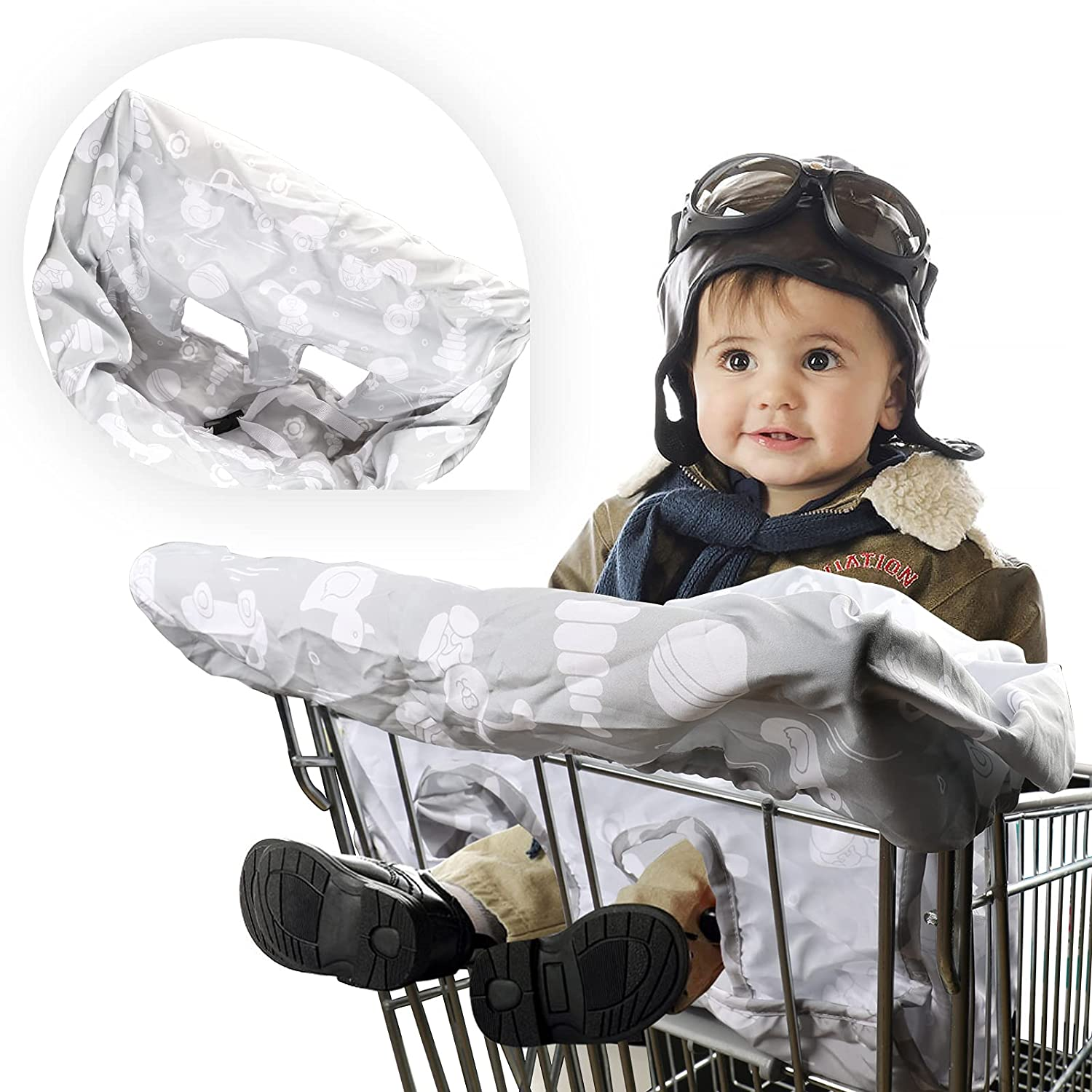 Color You Shopping Cart Cover for Baby Boy and Girl, 2-in-1 High Chair Cover, Machinewashable Cart Covert Soft Comfortable Cart Grocery Cart Cover for Baby