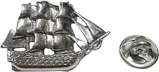 Kiola Designs Silver Toned Detailed Galleon Old Ship Tie Tack