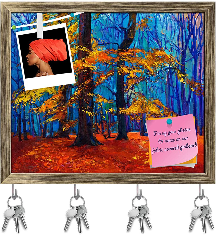Artzfolio Artwork of Beautiful Autumn Tree D3 Key Holder Hooks   Notice Pin Board   Antique golden Frame 19.1 X 16Inch