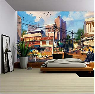 wall26 - Digital Painting Showing Street Scene with Urban Traffic on a Beautiful Sunny Day - Removable Wall Mural | Self-Adhesive Large Wallpaper - 100x144 inches