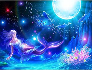 DIY 5D Diamond Painting Kits for Adults,Full Drill Embroidery Arts Craft Paint with Diamond for Home Wall Decor (Blue Mermaid)
