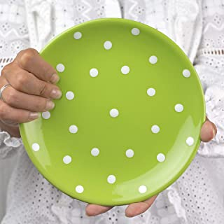 City to Cottage Handmade Lime Green and White Pottery Polka Dot Glazed 7.9inch/20cm Side Plate, Dessert Plate, Unique Ceramic Dinnerware, Housewarming Gift