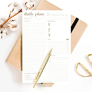 Bliss Collections Essential Daily Planner 6 x 9 with 50 Undated Tear-Off Sheets, Metallic Gold Organizer notepad to track productivity, your schedule, tasks, water intake, notes and more