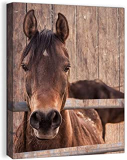 Farmhouse Rustic Wall Decor for Bedroom Rustic Bathroom Decor for the Home Country Horse Pictures Kitchen Wall Decor Canvas Framed Animal Wall Art Modern Prints Wood Grain Artwork for Walls Size 12x16