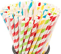100PCS Biodegradable Paper Straws Bulk, Assorted Rainbow Colors Striped Drinking Straws for Juice, shakes, Cocktail, Coffe...