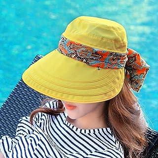 QYJpB-Hats Women Sun Hats Summer Outdoor Wide Brim Sun Hat Cap Neck Face Flap Hat (Color : Yellow)