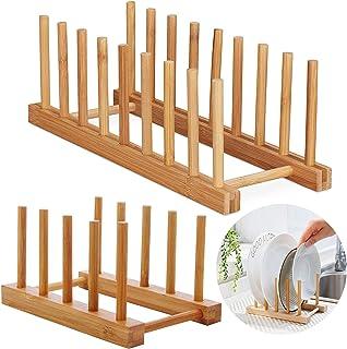 2 Pcs Rack Plateau Rangement Porte Vaisselle Cuisine Plaque Bambou Egouttoir Verticale Support Bambou Assiettes pour Assie...