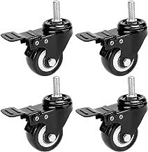 Homdox 2 '' Swivel Casters Wheels Stem Break Casters with Brake, 4 Pack (Black)