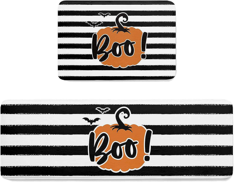 COLORSUM 2 New popularity specialty shop Piece Non Slip Kitchen Halloween Set Boo Pum Bats Mat