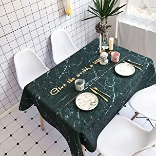 Simple Modern kitchen/home tools Black Marble Pattern Waterproof Anti-scalding Rectangle Cotton and Linen Table Cloth, Sim...