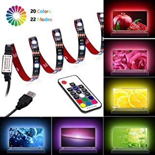 LED TV Back-Light,USB LED Strip Light,6.56ft 60 LED with Wireless Remote Controller for TV 40 to 60 inch/PC/Laptop Bias Lighting [RGB Multi-Color]