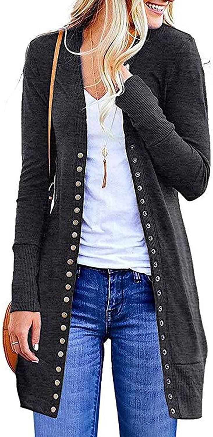 Women's Button Down Safety and trust Cardigan Long Outwear Shirts Rapid rise Sol Sleeve Tops