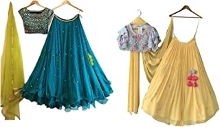 Colours Collection Women's Georgette Blue&Yellow Embroidery Lehenga Choli (free size)