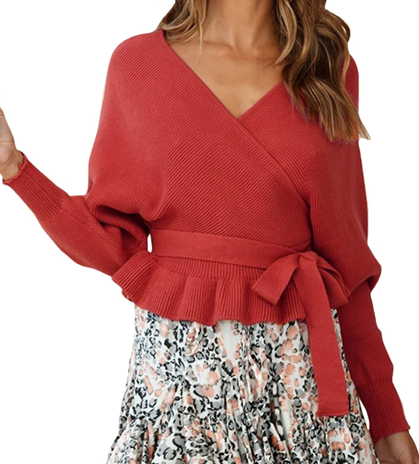 Mansy Womens Sexy V Neck Backless Long Belted Sleeve Batwing Ruf Max Year-end gift 82% OFF